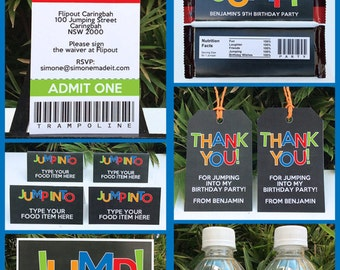 Trampoline Party Invitations & Decorations - full Printable Package - INSTANT DOWNLOAD with EDITABLE text - you personalize at home