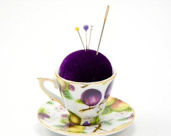 Pincushion 'Plum 'n Pear' porcelain cup and saucer