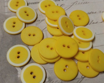 Vintage Buttons Yellow White Buttons for Jewelry 33 pieces