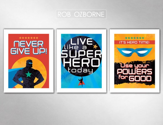 SUPERHERO Boys Bedroom Kids Nursery Super Hero - Set of 3 Art Print 11x14 by Rob Ozborne