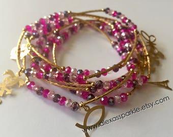 Purple & Pink with gold plated charms - Semanario combinacion morado con rosita con dijes de chapa de oro