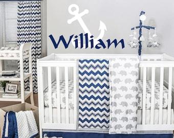 Personalized Anchor Name Wall Decal Wall Sticker Nursery Vinyl Art. Baby Boy Nursery Decor. Anchor Name Boy Children Nursery Wall Decal F17