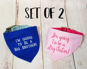 Pregnancy Announcement - Baby Announcement - Custom Dog Bandana - Baby Reveal - Big Brother Bandana - Future Big Brother - Future Big Sister
