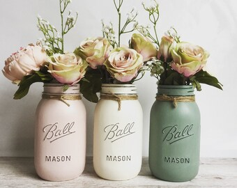 Set of 3 large painted mason ball jars with twine around rim. A table centrepiece. Great for decoration in your home or as a gift.