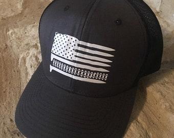 Railroader distressed flag trucker hat