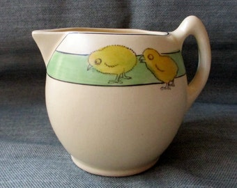 Roseville Creamware Utilityware Child's Small Pitcher, Baby Chicks, Green Band (c. 1910s)