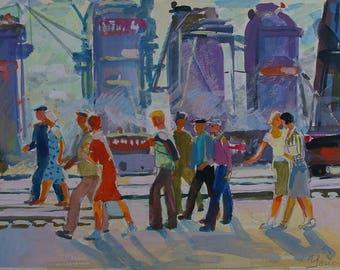 Soviet Workers,Soviet youth,Socialist Realism,collective farm,kolkhoz,original painting,Usikova E. Sketch of 20-29 70e 0.15