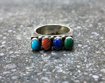 Vintage Sterling Silver Turquoise, Coral, Lapis and Malachite Multistone Ring