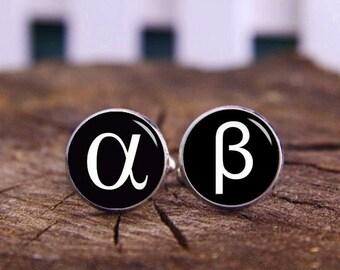 Greek Letter Cufflinks, Greek Symbol Alpha Cufflinks, Beta Cufflink, Custom Cufflinks, Tie Clip, Custom Languages Cufflink, Wedding Cufflink