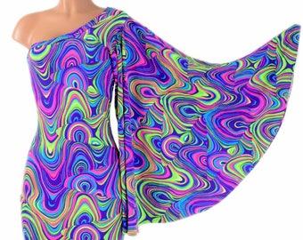 One Shoulder Fan Sleeve Bodycon Dress in Stretchy Spandex UV Glow Worm Neon 154310