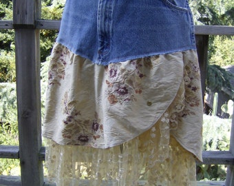 Upcycled Denim Skirt, Plus Size Recycled Jeans Skirt, Upcycled Clothing