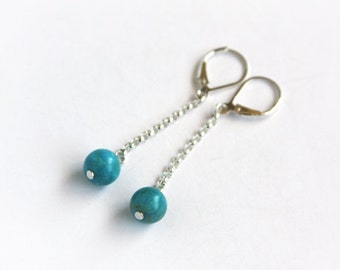 Turquoise Minimal Earrings Sterling Genuine Kingman Turquoise Round Bead Sterling Silver Earrings Teal Blue Chain Dangle Simple #16358