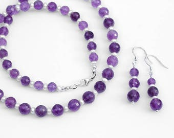 Amethyst White Freshwater Pearl Necklace and Earrings Set / 925 Sterling Silver / Graduated Stone Beads / February June Birthstones