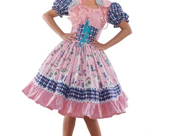 Circus Carousel Horse Dress Harlequin Clown Storybook Fairytale Halloween Costume Womens Custom Size including Plus Sizes Pink Blue White