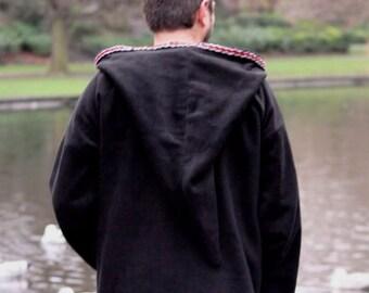 Medieval Pixie hoodie Black hippie elven hoodie Psy SCA festival rave hoodie - Gothic hoodie