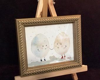 Eggtastic Friends, Original Framed Watercolour on Paper