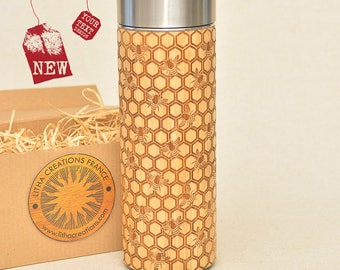 Engraved Wooden Thermos Vacuum Flask MY HONEY Original Bamboo Wood Stainless Steel with Screw Lid