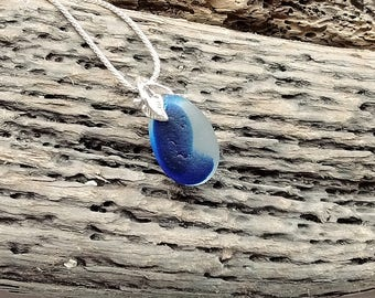 Blue seaham sea glass pendant