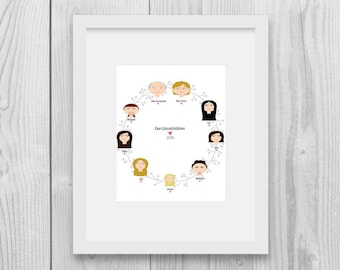 Grandchild Family Tree with Grandparent Portraits, Custom Portrait, Family Tree Illustration, Family Tree Alternative, Custom Illustration