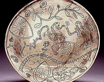Eden - handmade ceramic bowl, stoneware bowl, pottery bowl, large ceramic bowl, Garden of Eden, art work, sgraffito, gift idea, for her