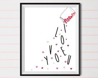 i love you, love print, valentine's day, valentine print, Printable art, heart print, Printable Love Poster, printable wall art, gift idea