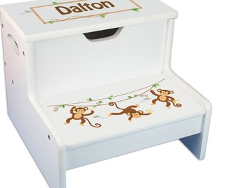 Personalized Monkey Boy Childrens Step And Storage Stool