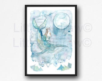 Cat Mermaid and Humpback Whale Moon Print Watercolor Painting Print Wall Art Print Whale Cat Art Print Purrmaid Meomaid Mercat Wall Decor
