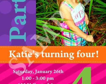 Custom Girl's Photo Birthday Invitation, all colors can be changed