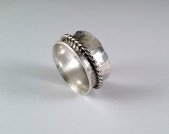 Spinner Ring -Sterling Silver Spinner Ring - Fidget Ring