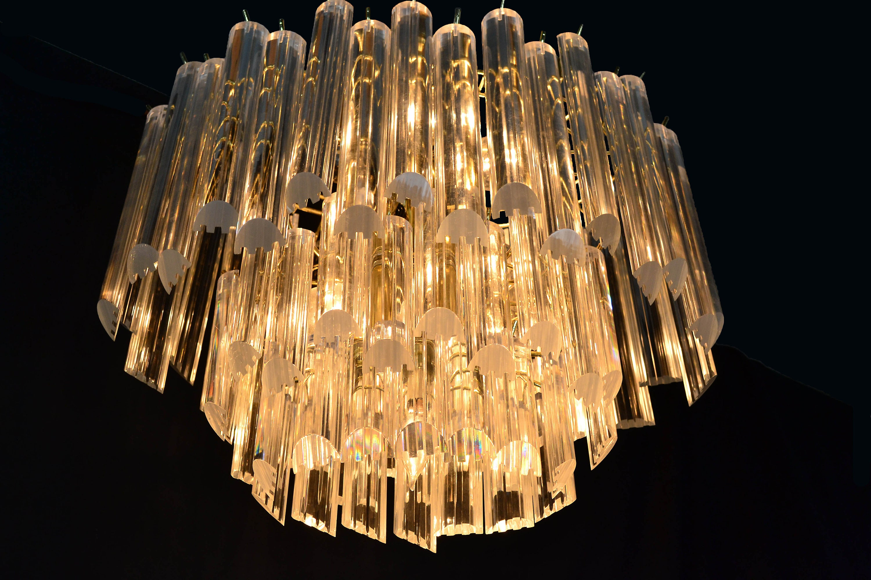 Mid century modern oval chandelier with lucite crystals 3 zoom arubaitofo Image collections