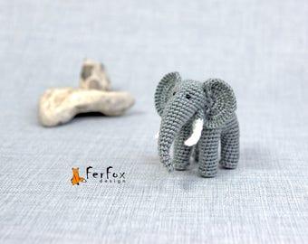 Miniature elephant figurine Realistic elephant Art doll Stuffed elephant Collectible miniature animals Realistic miniature Stuffed animals