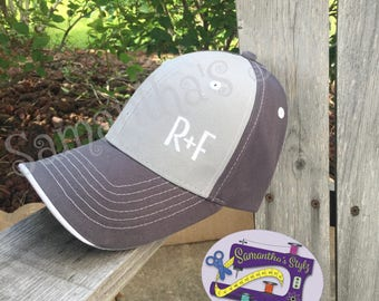 Charcoal/light Gray R+F Hat, Embroidered Rodan and Fields Hat, Trucker style R+F Hat, Monogrammed Hat