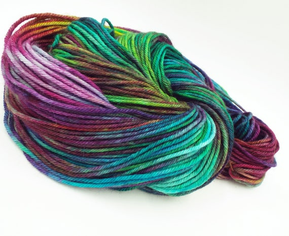 Hand Dyed Yarn 100% Superwash Merino Yarn Worsted Weight Yarn - 220 Yards - Variegated Rainbow Yarn - Natassia