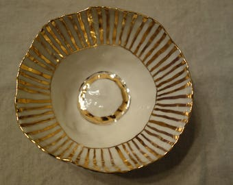 Salad Bowl in Gold Stripe, Extra large