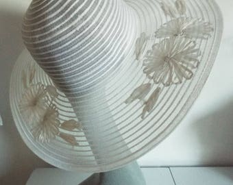 Ladies Hat White Wide Brim Hat with Embroidered taffeta flowers on top of brim see through hat  With Original Tag