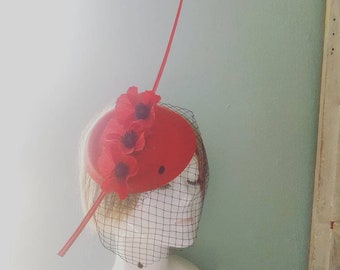 Red and Black 1950s Rockabilly Poppy Statement Feather and Bird Cage Veil PillBox Hat Fascinator