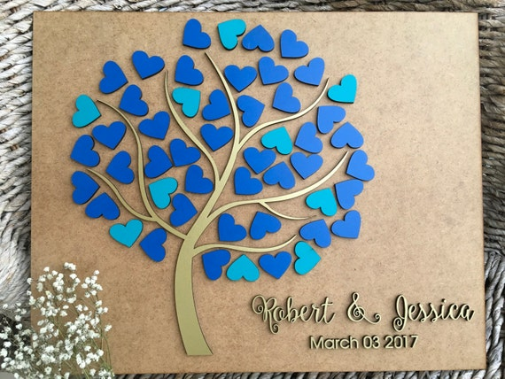Personalized guestbook Tree of hearts Wedding Alternative Tree Guest Book Custom Wooden wedding sign 3D Custom guest book with names & date