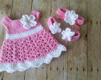 Pink Crochet Baby Set Infant Baby Dress, Handmade Baby Girl Gift, Newborn Baby Dress, Baby Shower Gift, Infant Girl Dress, Coming Home