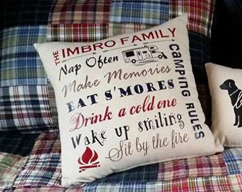 Handmade Personalized Custom Camping Pillow Cover with your choice of image and  text color by Howard Avenue