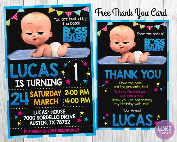 Boss Baby Invitation with FREE Thank You Card Boss Baby