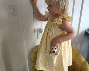 NEW!|Farmers Market Dress| Sunshine Yellow Stripes| Toddler Girl Dress| Reclaimed Fabric| Cotton| Pockets