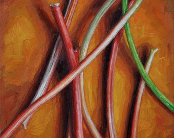 "Original Oil Painting of Rhubarb, ""Rhubarb I"", Framed"