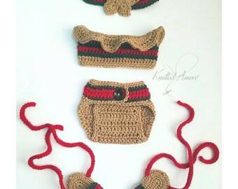 Crochet gucci inspired set, crochet baby crop top, crib booties, diaper cover, baby booties, baby gift, newborn photo prop, baby headband