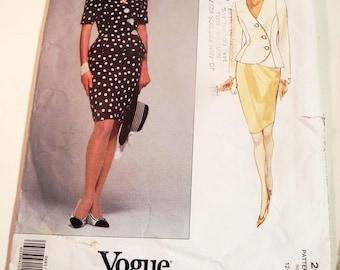 "1990s Asymmetric Jacket Straight pencil skirt Albert Nipon sewing pattern American Designer Vogue 2683 Size 12 Bust 34"""