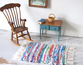 Farmhouse Country Rustic Miniature Doll House Rag Rug, Tiny House Artisan Handwoven Cottage Cabin Dollhouse Model Doll Collector Home Decor