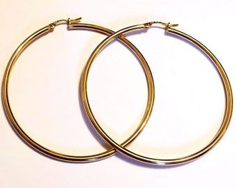 "18k solid yellow gold(2""inch)Italian hoop earrings"