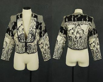 Vintage 80er Pferd Jacke Wandteppich Jacke 1980er Jahre südwestlichen Wüste Szene Neuheit Print Jacke beschnitten Jacke Sz L