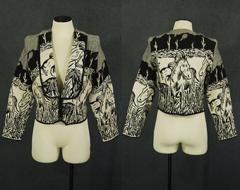 vintage 80s Horse Jacket Tapestry Jacket 1980s Southwestern Desert Scene Novelty Print Jacket Cropped Jacket Sz L