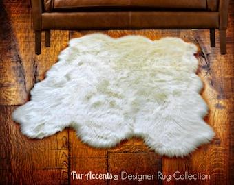 Plush Faux Fur Area Rug - Luxury Fur Thick Shaggy Bear Skin - Multi Pelt Sheepskin - Designer Throw Rug - Fur Accents USA