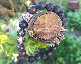 Brown reality gemstone and lava stone bracelet